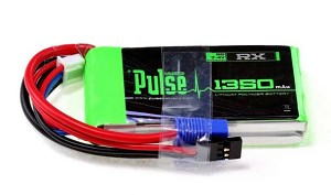 PULSE LIPO 1350mAh 7.4V - Receiver Battery with JR and EC3