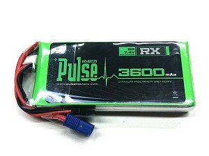 PULSE 3600mAh 2S 7.4V 15C - Receiver Battery with JR and EC3